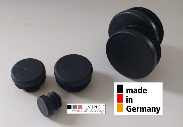 20 Stck. Lamellenstopfen Rohrstopfen Pfostenkappen Rund 50 mm mm Schwarz