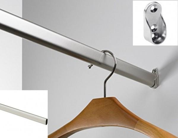 Kleiderstange Stahl verchromt OVAL Schrankrohr Schrankrohrlager Schrankstange
