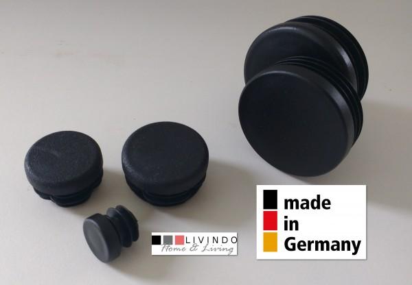 10 Stck. Lamellenstopfen Rohrstopfen Pfostenkappen Rund 25 mm Schwarz