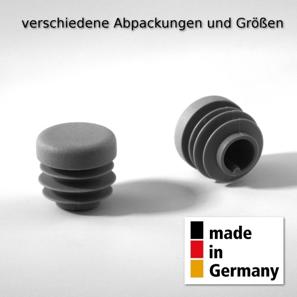 20 Stck. Lamellenstopfen Rohrstopfen Pfostenkappen Rund 50 mm mm Grau